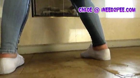 Chloe Carter wetting herself pee pants