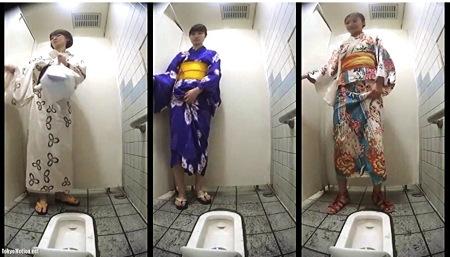 【盗撮動画】おしっこ・花火大会で満員の女子トイレを本物盗撮!浴衣の美人たちが小便してます。