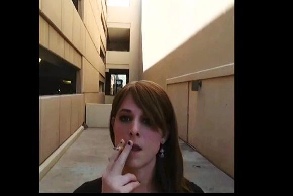 Smoking A Cigarette Outside