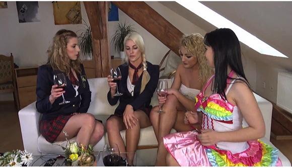 4 Hot Lesbian Girls in School Uniform Skirts Costume Party