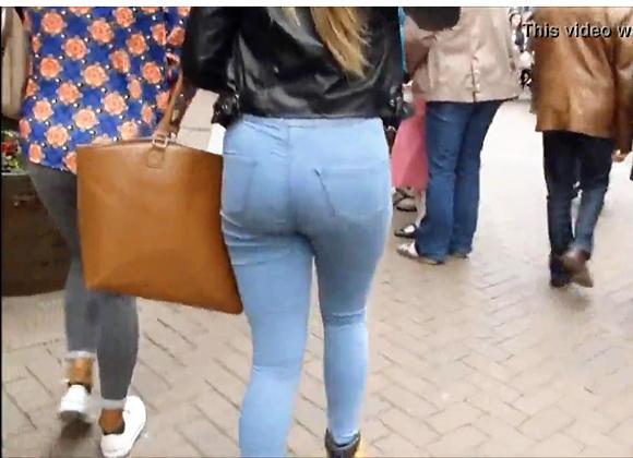 盗撮-大きなお尻のジーンズを履いたセクシーギャル