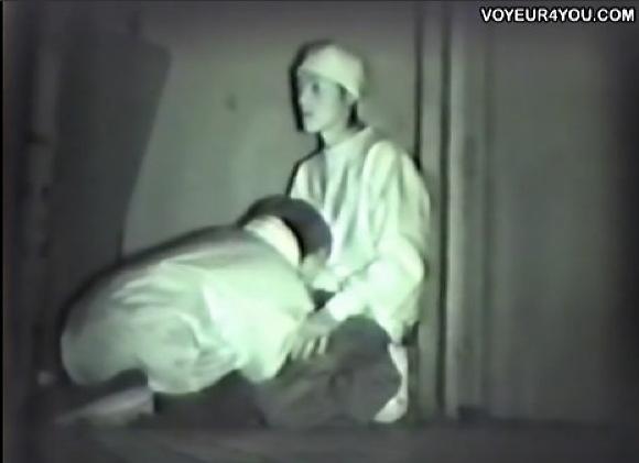 【青姦】深夜の公園でフェラチオ!若い学生カップルはザーメンを口に出した!