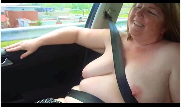 【ぽっちゃり】これは危険な全裸で運転をしている豊満ギャルです『裸の周りを運転』【爆乳+巨乳+豊満ムチムチ+ぽっちゃり】