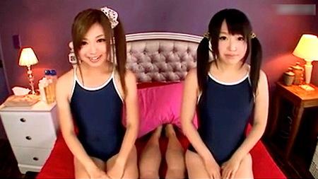 【美少女】可愛い美少女すぎるスクール水着ふたりが淫語でファック!【瀬名あゆむ・松下ひかり】
