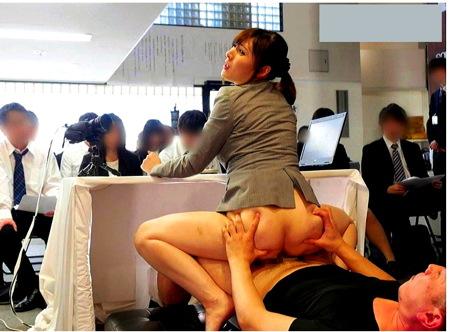 【SOD女子社員】早漏女子社員!セックスしながら記者会見!