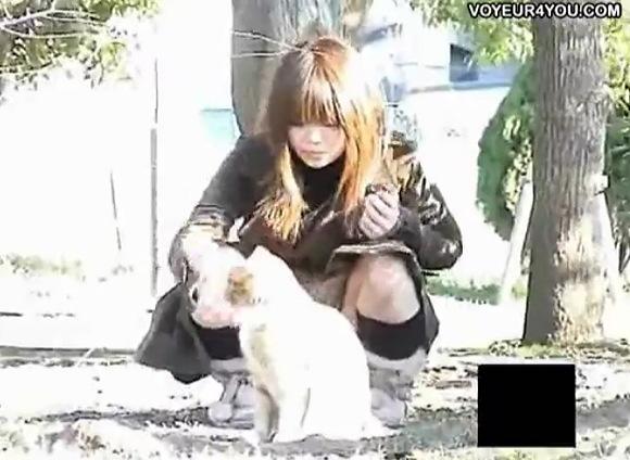 パンチラ無料主観動画。[盗撮]公園で猫の相手をしています!パンチラ盗撮動画です!