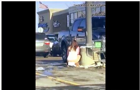 駐車場で小便をしているお姉さんを隠し撮り