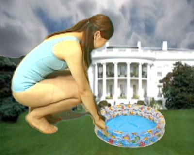 【ギガンテス】これはやばい国会議事堂に現れた巨大水着ギャルです!プールを出して泳ぎますが結局、国会議事堂をクラッシュします。