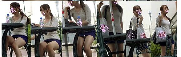『《高画質無修正》太もものエロい激かわ女子が盗撮に気付いた!?極上対面ぱんちら』【jesus-ll+Gcolleジーコレ+画像10枚】