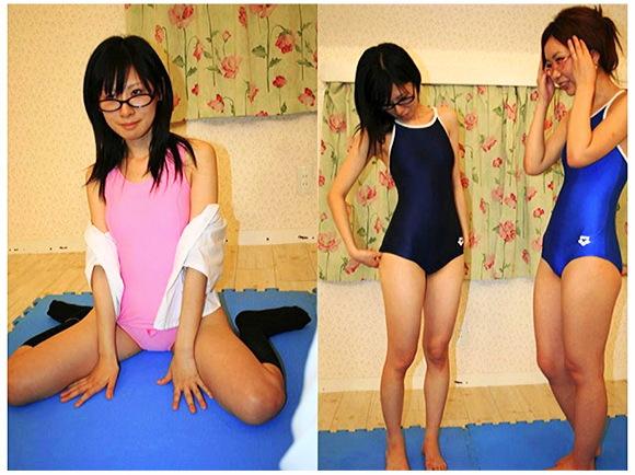 【スクール水着+眼鏡っ娘+女子高生】スクール水着を着て運動をしたり風呂場でたわむれます。『めがねっ娘が新旧スク水にきがえたら 1着目』【美少女+ロリータ+Eye Wear+画像20枚】